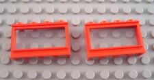 LEGO Lot of 2 Red 1x4x2 Old Style Windows with Glass