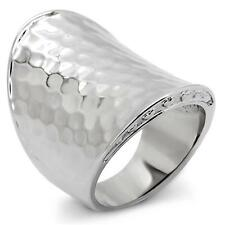 HCJ STAINLESS STEEL HAMMER TEXTURED MODERN STATEMENT RING SIZE 6
