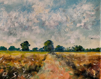 Dirt Tract Wheatfield  Painting Impressionist LANDSCAPE Collectible