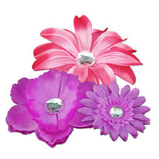 School Locker Decoration: Fucshia Magnetic Flower Set of 3