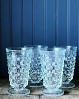 Vintage Indiana Glass American Whitehall Clear Footed Tumblers Tea Glasses (4)