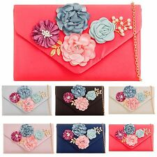 SATIN PEARL FLOWERENVELOPE PARTY PROM EVENING WEDDING BRIDAL CLUTCH HANDBAGS