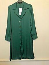 BNWT Zara Verde Lungo di Raso Blusa Taglia S