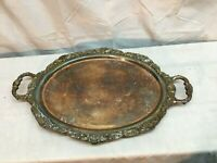 Ornate Shell Design Handle Footed Serving Butler Tray Silver Plated Copper 20x13
