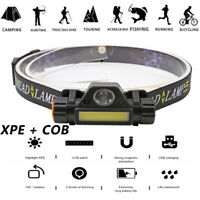 Waterproof XPE + COB LED Headlamp Headlight Rechargeable Flashlight Head Torch