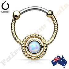 316L Surgical Steel Gold Ion Plated Septum Ring Clicker With Opal Sep2 61