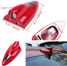 Red Car Roof AM FM Aerial Shark Fin Antenna Solar LED Flashing Warning Tail Lamp