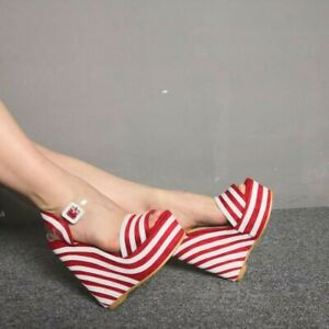 Summer Women's Striped High Wedge Heels Platform Slingbacks Ankle Strap Sandals