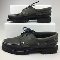 TIMBERLAND BOAT SHOE 3I PAD COLLAR CLASSIC 3 EYE NAVY GREY NEW MENS RRP £130