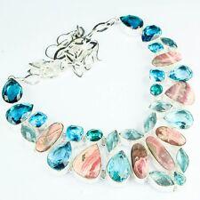 "Handmade Pink Rhodochrosite Gemstone 925 Sterling Silver Necklace 18"" #H00067"
