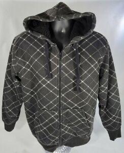 Company 81 Zip Up Black Heavy Faux Fleece Pullover Hoodie EUC SZ Large