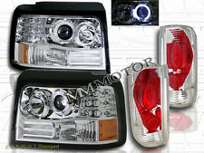 92-96 FORD BRONCO F150 PROJECTOR HEADLIGHTS CHROME LED HALO+ TAIL LIGHTS CLEAR