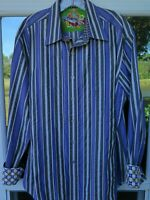 Robert Graham Men's Cotton Multi-Color Textured Striped Casual Shirt Large EUC