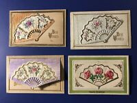 4 FANS Antique Novelty Postcards Open for Message. For Collectors. Nice w Value