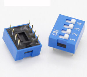 5 pieces Blue 4-Bit 4 Position Way DIP 2.54mm Pitch for Circuit Breadboard & PCB