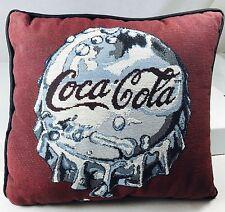 "Coca-Cola Coke Pillow Woven Fabric Shiny Bottle Cap Burgundy Grey 13"" x 12"""