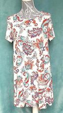 Ladies Size UK 14 Dress Short Sleeve Jersey A-Line Floral Smock Feathers Fresh