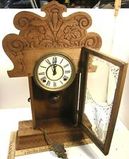 Antique Pressed Oak Gingerbread Mantel Kitchen Shelf Clock Runs Well