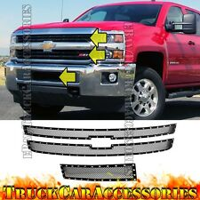 For CHEVY Silverado 2500HD 3500HD 2015 2016 17 Black Mesh Rivet Grille 3PC Combo