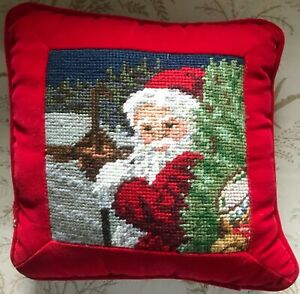 Beautiful Christmas Pillow - Santa with a Staff in a Forest in Needlepoint!