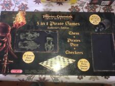 Pirates Of The Caribbean 3 In 1 Pirate Games Checkers, Dice, Chess COLLECTORS ED