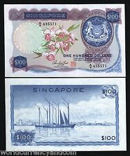 SINGAPORE $100 P6D 1973 ORCHID UNC RARE FIRST SERIES SAILING SHIP BRUNEI NOTE