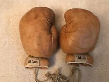 VINTAGE Wilson Leather  Boxing Gloves Tan / Gold - Rare