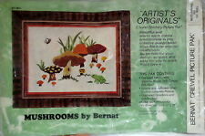 Mushrooms vtg crewel embroidery kit 60s 70s frog bee toadstools