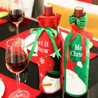 Christmas Wine Bottle Covers Red Santa Claus Xmas Wine Gift Bags Table Decor