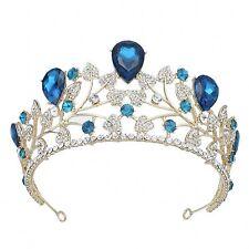 TQE29 Clear Blue Rhinestone Crystal Royal Gold Alloy Bridal Prom Tiara Crown