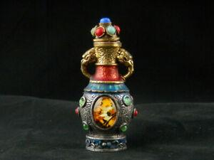 Wonderful Antique Tibetan Silver Inlay Brass *2Elephants* Snuff Bottle C134