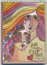 """LEANIN TREE """"Sweet Sister of My Heart"""" Magnet #31262 ~ Artist Laurel Burch ~"""