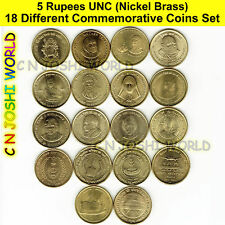 Very Rare 18 Different Nickel Brass 5 Rupees Commemorative Five Rupees UNC Coins