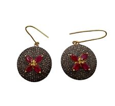 925 Solid Sterling Silver Victorian Pave Diamond LM Ruby Hoop Casual Earring