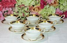 "Exquisite, Aynsley, ""Empress"" Cobalt & Encrusted Gold Cups/Saucers (6)"