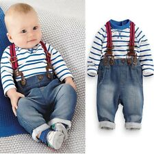 Kids Baby Boys Long Sleeve T-Shirt Tops+Braces+Trousers Clothes Outfits Set