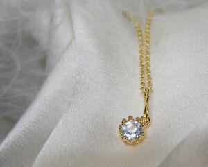 Halskette mit Anhänger Blau Topas Diamantschliff in Fassung blautopas sky blue