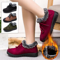 Women's Winter Warm Outdoor Non Slip Snow Boots Lace Up Fur Lined Ankle Booties