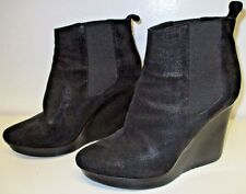 JIMMY CHOO Black Nubuck Leather Wedge Booties with Elastic Inserts - Size 40