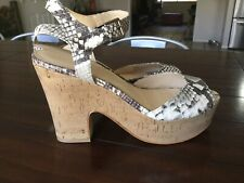 "Marc Fisher 9M 4.5"" Cork Heel Ankle Strap Sandals Snake Print Leather"