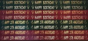 38MM Happy Birthday & Anniversary Ribbon,CAKES,WRAPPING,CARDS 1 or 3 metres