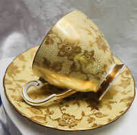 Coalport England Bone China Gold on Gold Floral Vine Tea Cup and Saucer Set