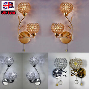 Pair Modern double head crystal wall lamp E14 holders chrome/Gold with a switch