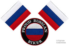 LOT of 3 PROUD RUSSIAN BIKER IRON-ON PATCH RUSSIA FLAG embroidered Россия