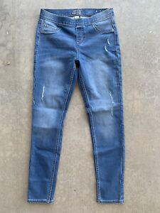 Justice Girls Size 16 Distressed Jeans Slim Mid-Rise Jeggings Pull On