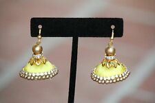 stone bright yellow Jhumka Earrings Set 2016 A cute trendy Set Of threaded Cz