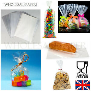 SMALL LARGE CLEAR CELLOPHANE SWEET GIFT CELLO BAGS FOR WAX MELTS FOOD WRAP PARTY