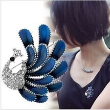 Gift Rhinestone Korean Pin Elegant Bird Brooch Love Fashion Women Blue Crystal