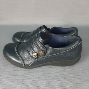 Clarks Collection Women's Leather Navy Blue Slip On Shoes Size 7