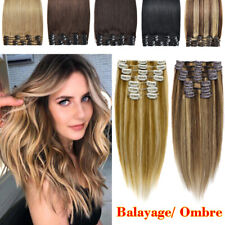 Premium 100% Real Good Clip In Remy Human Hair Extensions Full Head 8PCS Long US